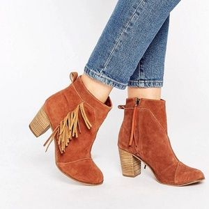 Toms lunata suede fringed ankle booties. Size 7